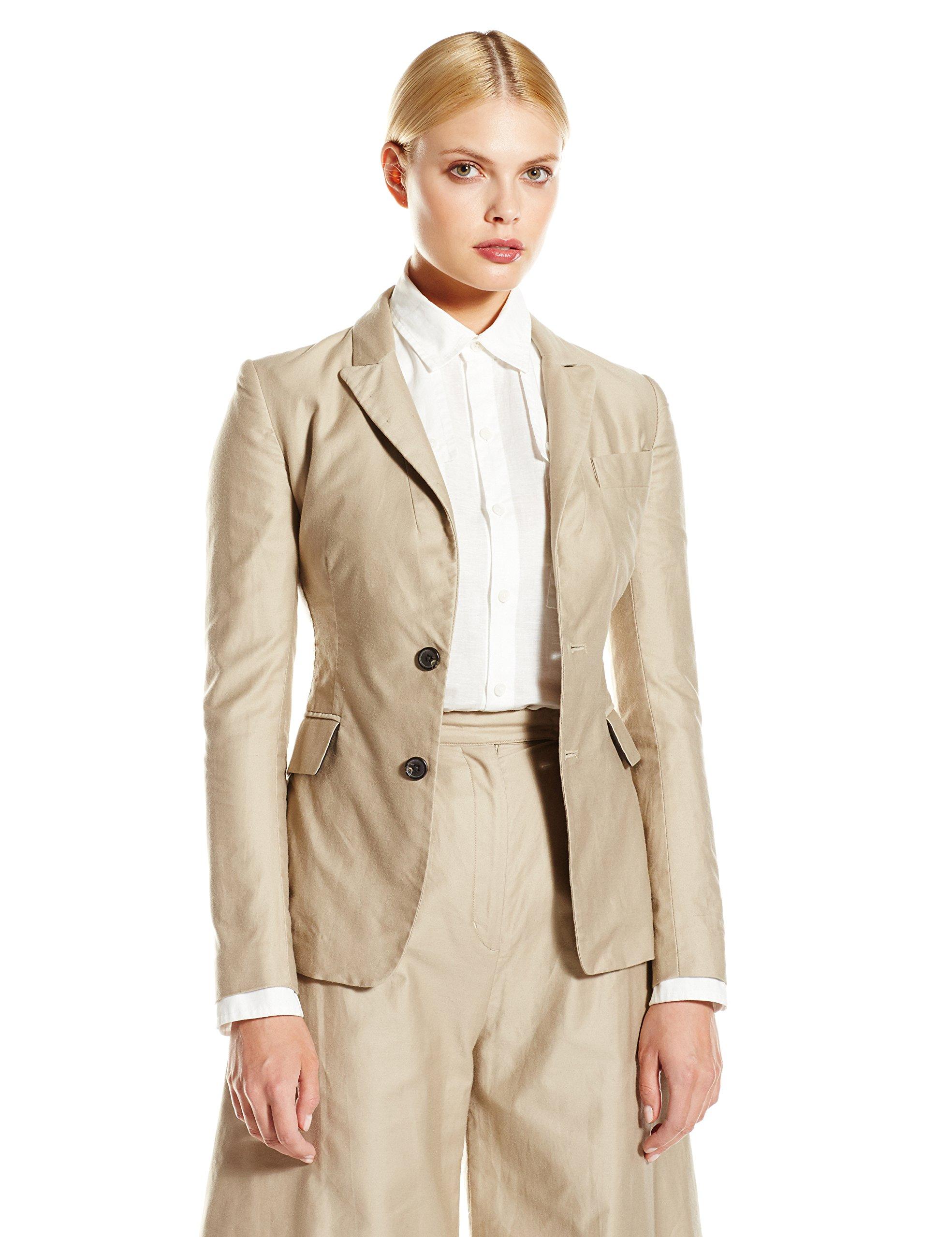 CADET Clothing Women's Cotton Blazer, Khaki, 8