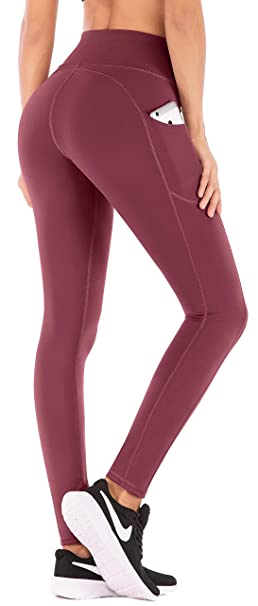 0bd88c643a39 Amazon.com  IUGA High Waist Yoga Pants Shorts with Pockets Tummy Control Workout  Yoga Shorts Side Pockets (7840 Wine