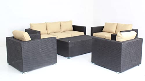 5pc Modern Outdoor Backyard Wicker Rattan Patio Furniture Sofa Set