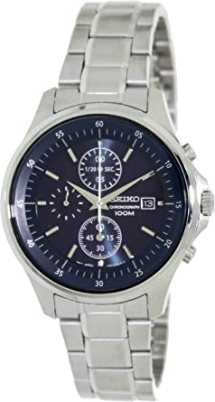Seiko Blue Dial Chronograph Stainless Steel Mens Watch SNDE21 by Seiko Watches
