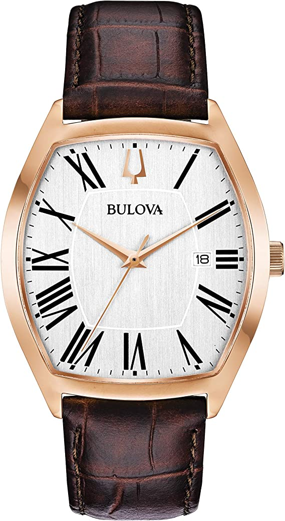 Bulova Tonneau Shaped Rose Gold Dress Watch (Model: 97B173)