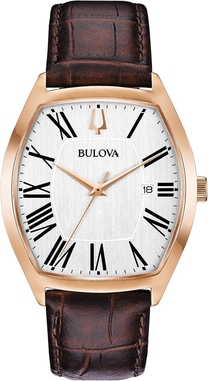 Bulova Tonneau Shaped Rose Gold Dress Watch Model 97B173