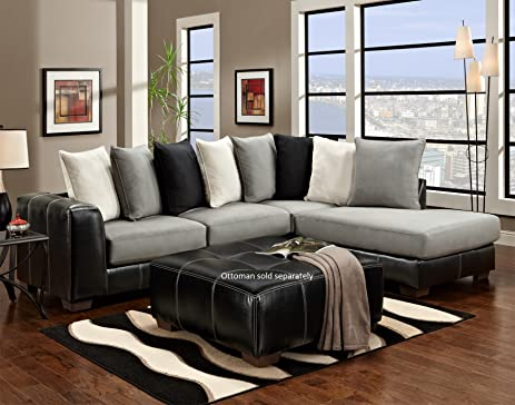 Roundhill Furniture Idol Steel 2-Toned Sectional Sofa Black : sectional sofa black - Sectionals, Sofas & Couches