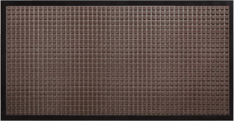 DEXI Durable Front Door Mat, Waterproof, Low-Profile, Heavy Duty Doormat for Indoor Outdoor, Easy Clean Rug Mats for Entry, Patio, Busy Areas, 48X24, Stripe Brown