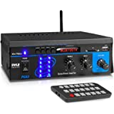 Pyle Home Audio Power Amplifier System - 2X75W Mini Portable Dual Channel Surround Sound Stereo Receiver Box w/ LED - For Amp
