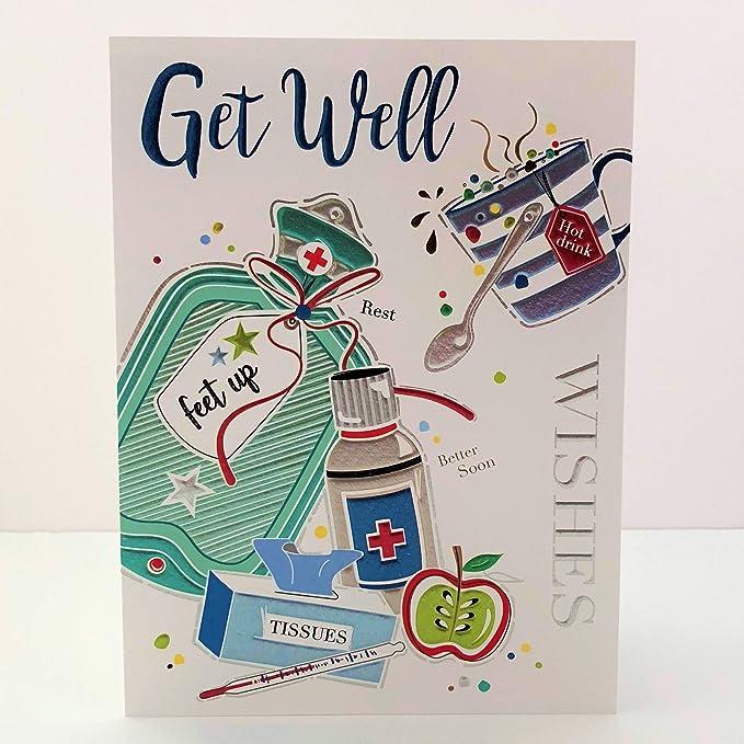 "Jonny Javelin Get Well Soon Greetings Card Flowers /& Butterflies 7.25/"" x 5.5/"""