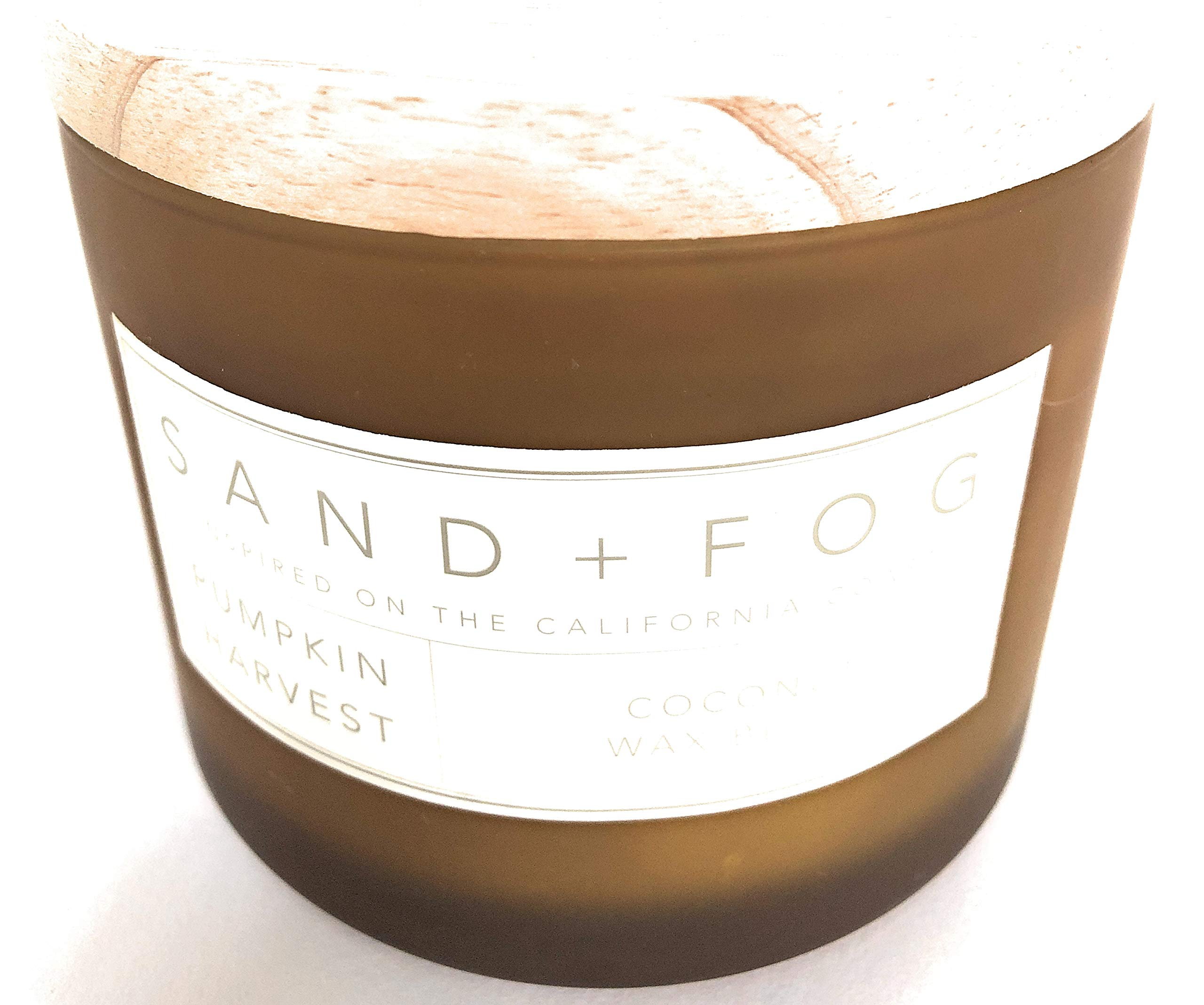 Sand And Fog Pumpkin Harvest Coconut Wax Blend Double Wick Candle with Wooden Lid 12 Oz