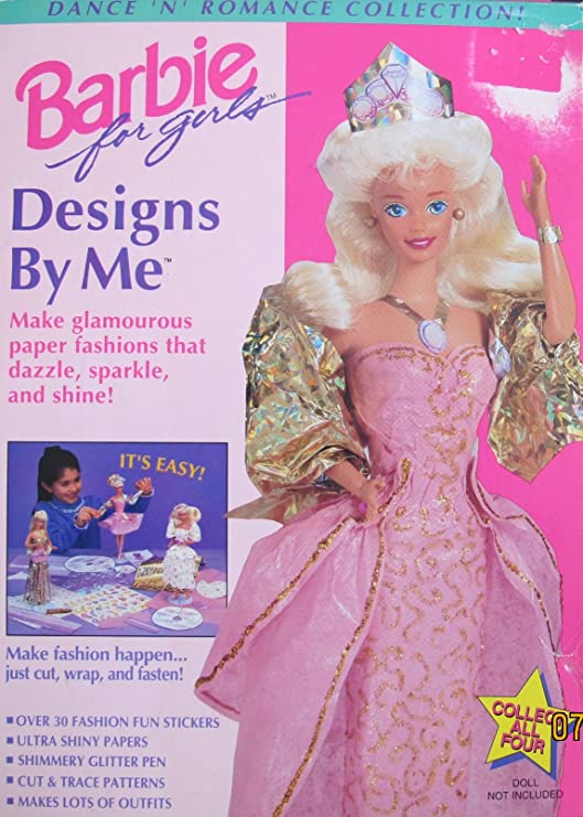 Amazon Com Barbie Fashion Designs By Me Dance N Romance Collection W Cut Trace Patterns Ultra Shiny Papers More To Make Glamorous Fashions 1994 Mattel Golden Toys Games