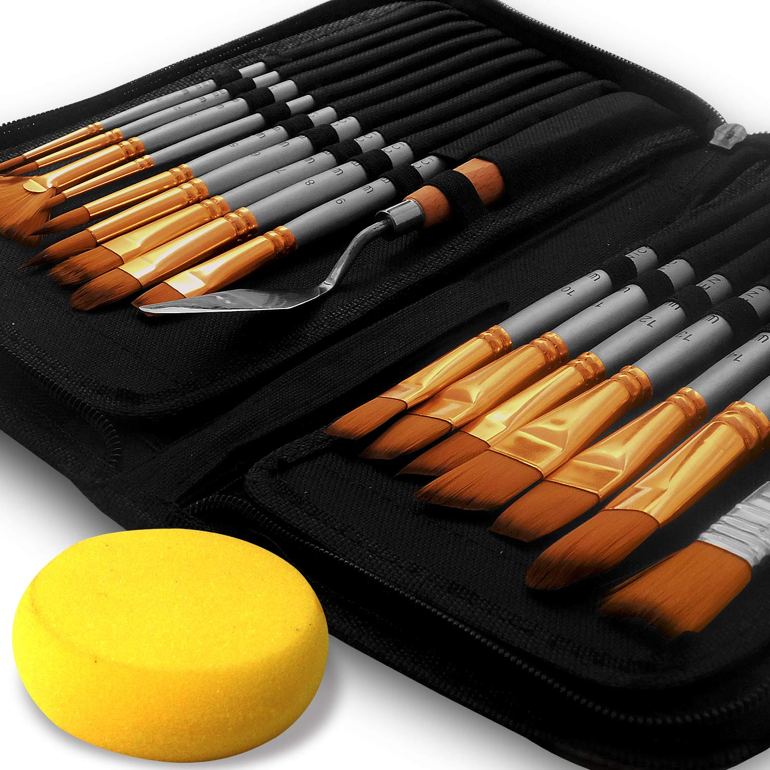 Artist Paint Brush Set - 16 Different Shapes & Sizes - Free Painting Knife & Watercolor Sponge - No Shed Bristles - Wood Handles - for Creative Body Paint, Acrylics & Oil by Benicci