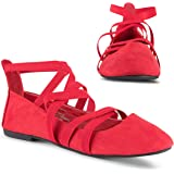Twisted Sara Womens Flats | Ballet Flats with Elastic Straps and Comfort Insole