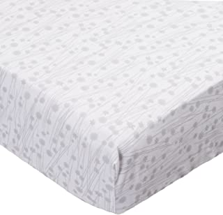 product image for SheetWorld Fitted Sheet (Fits BabyBjorn Travel Crib Light) - Grey Floral Stems - Made In USA