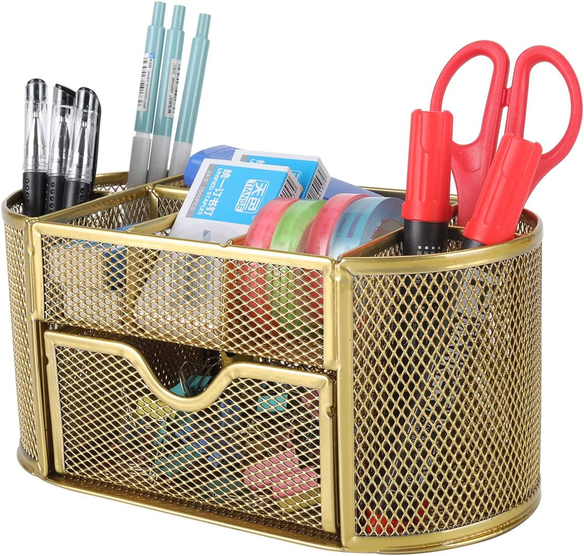 PAG Office Supplies Mesh Desk Organizer Pencil Holder Pen Cup Accessories Storage Caddy with Drawer for Women and Girls, 9 Compartments, GoldGold