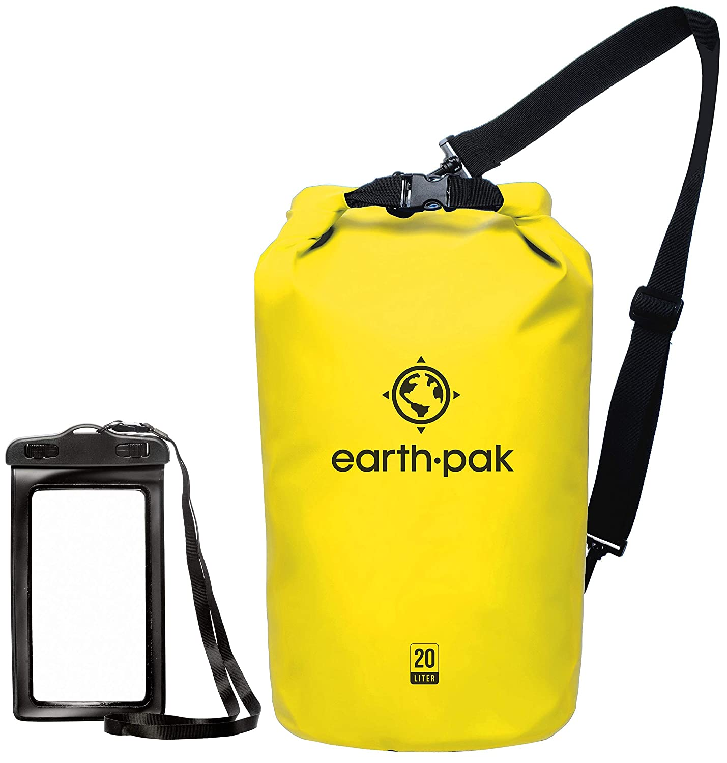 Earth Pak -Waterproof Dry Bag - Roll Top Dry Compression Sack Keeps Gear Dry for Kayaking, Beach, Rafting, Boating, Hiking, Camping and Fishing with Waterproof Phone Case [並行輸入品] B07R4VN4L1