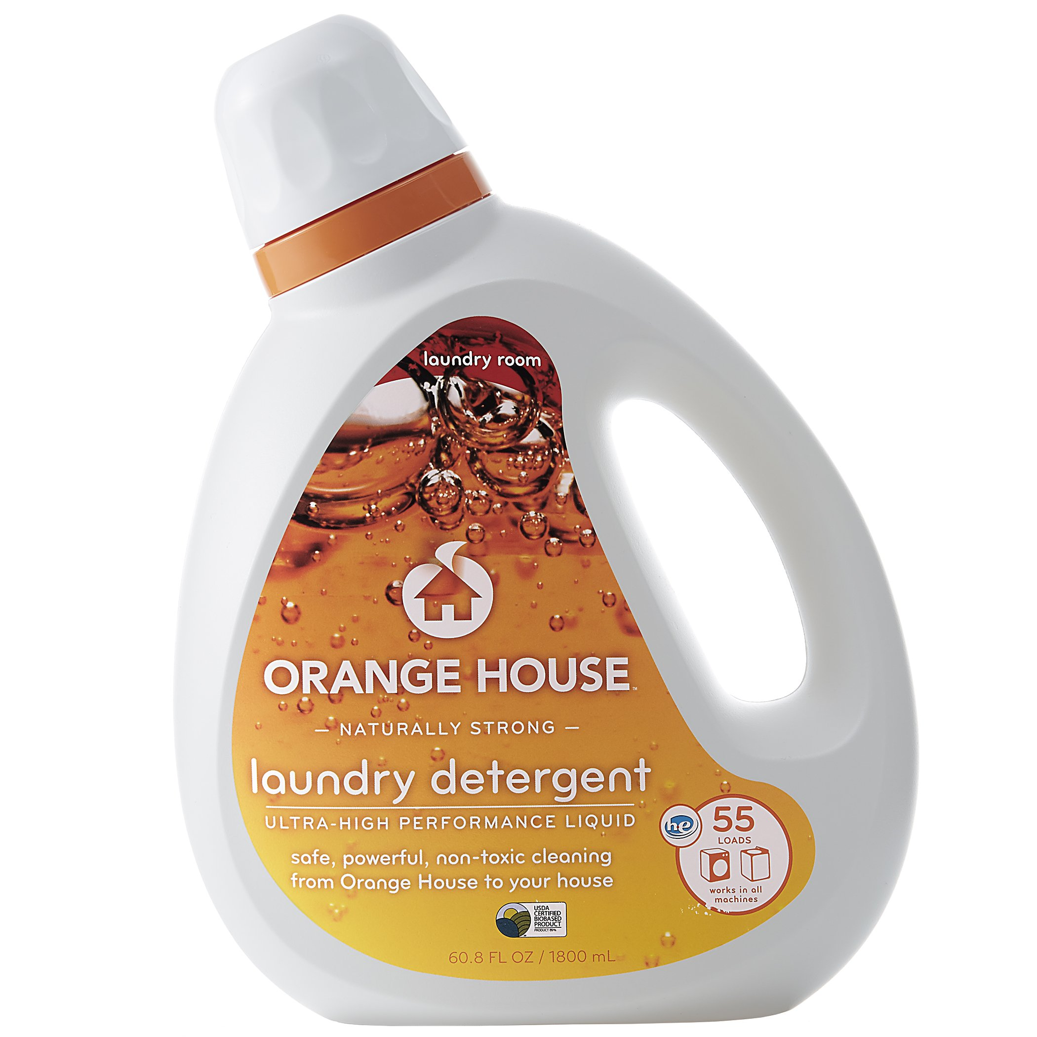 Orange House Liquid Laundry Detergent, Non-Toxic and Naturally Powerful, 55 Loads