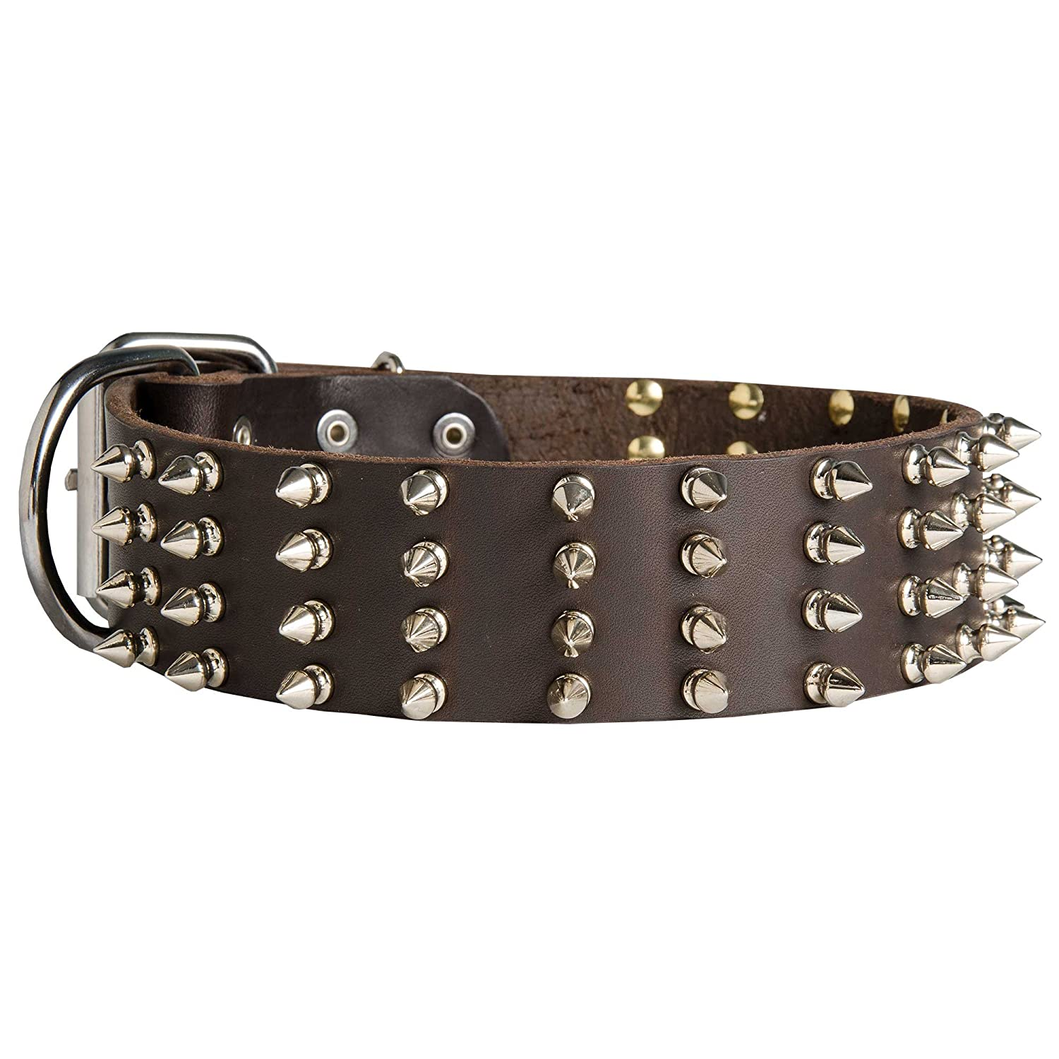 Black fits for 17 inch dog's neck size Black fits for 17 inch dog's neck size 17 inch Extra Wide Black Leather Spiked Dog Collar for Walking  Top Paw Style  2 inch (50 mm) wide