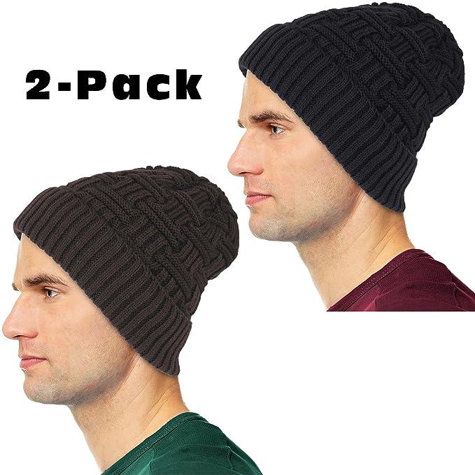 Debra Weitzner Mens Slouchy Beanie Knit Winter hat Warm Wool Fur Skull Cap  2-Pack fb05d660e2b7