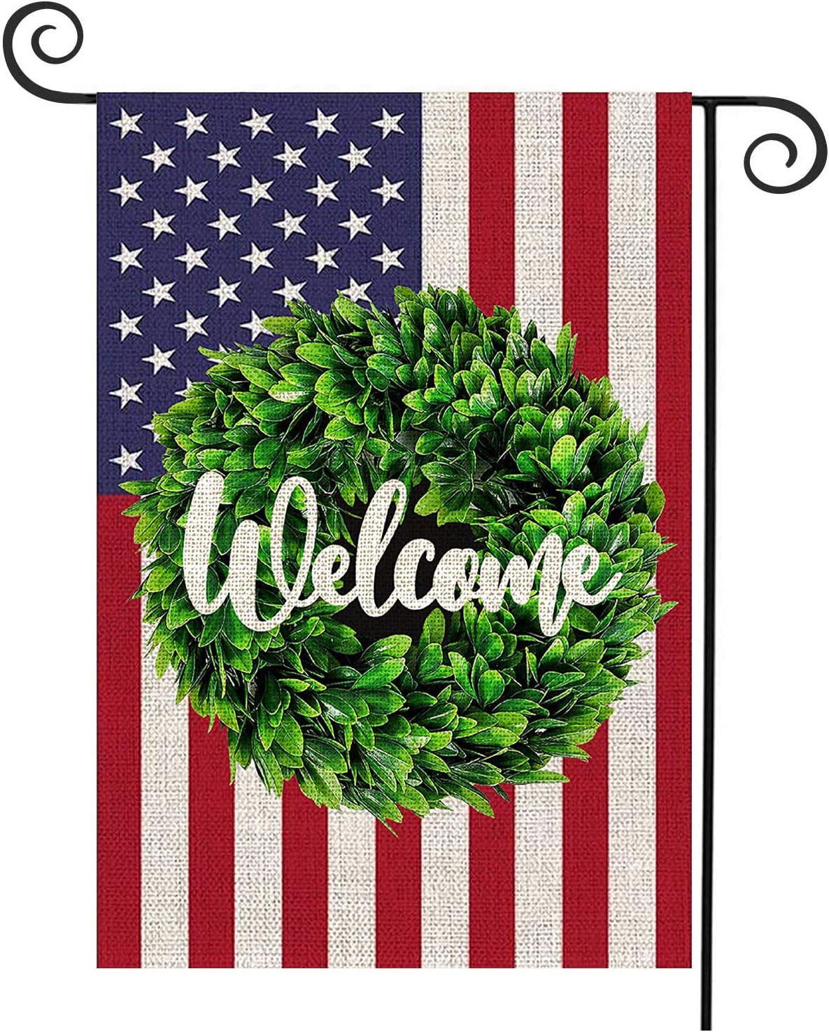YAZEN Welcome Garden Flag Leaves Wreath Small Garden American Flag Vertical Double Sided 12.5 x 18 Inch Farmhouse Fall Burlap Yard Outdoor Décor