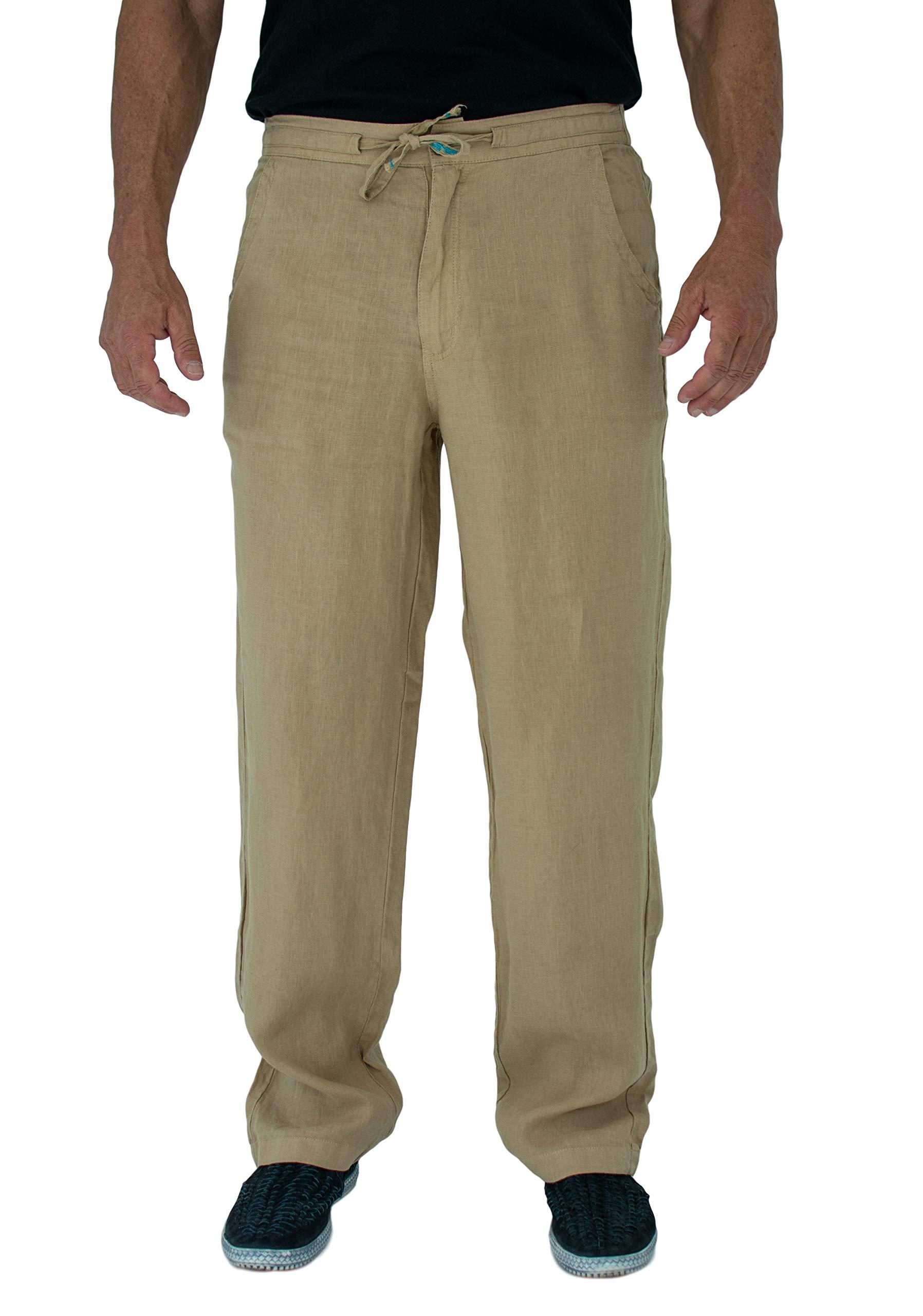 Short Fin Men's 100% Linen Drawstring Pants with Elastic Waistband (L8021L Khaki 40X30)