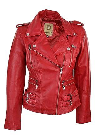 4bd9a2af4b0c Veste perfecto femme 100% cuir véritable rouge coupe ceintrée style rétro  biker rock  Amazon.fr  Vêtements et accessoires