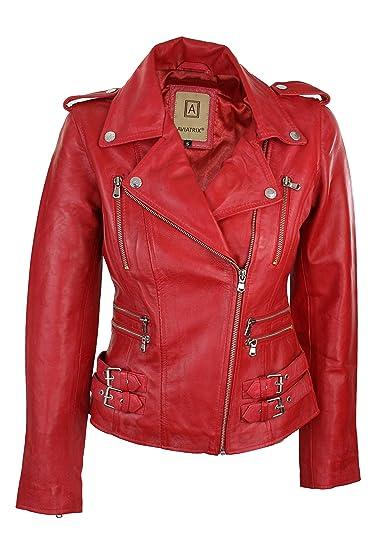 vraiment pas cher bien regard détaillé Veste perfecto femme 100% cuir véritable rouge coupe ceintrée style rétro  biker rock