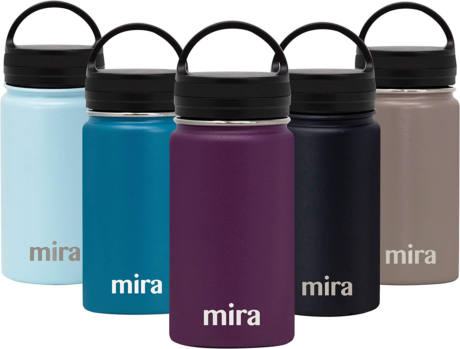 MIRA Insulated Stainless Steel Water Bottle - Hydro Vacuum Insulated Wide Mouth Thermos Flask - Keeps Water Stay Cold for 24 Hours, Hot for 12 Hours - Metal Bottle BPA-Free Cap - Iris - 12 oz