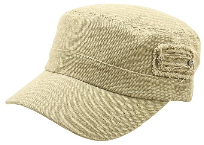 ATOBAO Canvas Cotton Distressed Side Design Army Cap Cadet Military Hat  Adjustable (Beige) ea0e58c2244