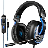 Xbox One PS4 Gaming Headsets, Sades R4 Gaming Headset Over Ear Headphones With Mic In-line Control Deep Bass (Black Blue)
