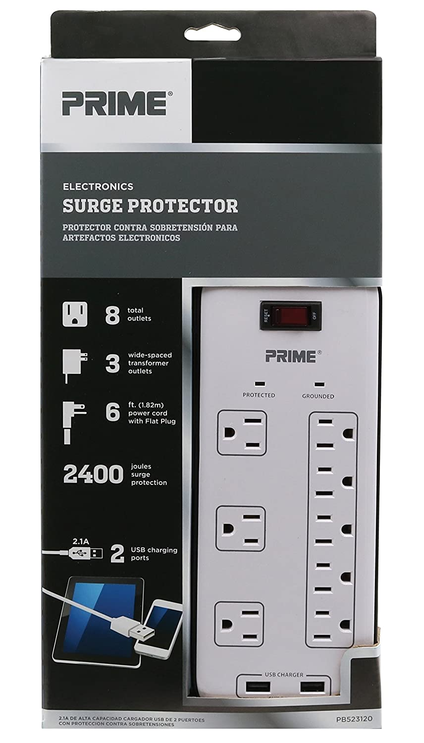 Amazon.com: Prime Wire & Cable PB523120 8-Outlet Electronics Surge Protector with 14-3 SJT 6-Feet Cord, White: Home Improvement