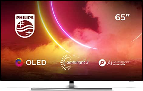 Philips 65OLED855/12 - Televisor Smart TV OLED 4K UHD, 65 pulgadas, Android TV, Ambilight 3 lados, HDR10+, P5 Perfect Picture Engine con IA, Dolby Vision/Atmos, Compatible con Alexa, color gris: Amazon.es: Electrónica