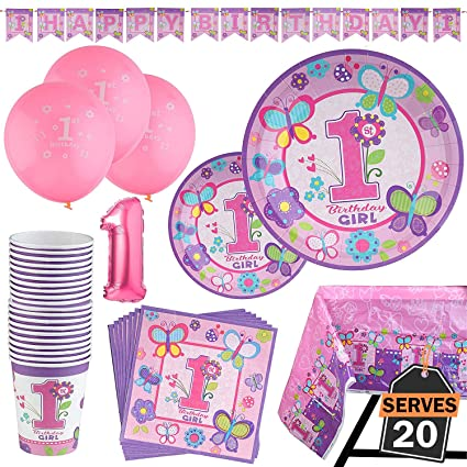 Amazon 95 Piece 1 Year Old Girl Birthday Party Set Including Banner Plates Cups Napkins Tablecloth And Balloons Serves 20 Toys Games