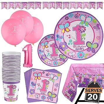 Accesorios Decorativos para 1 Cumpleaños Niña-Vajilla de 95 Artículos de Menaje para Primera Fiesta Infantil de Niños–Apoyo de ...