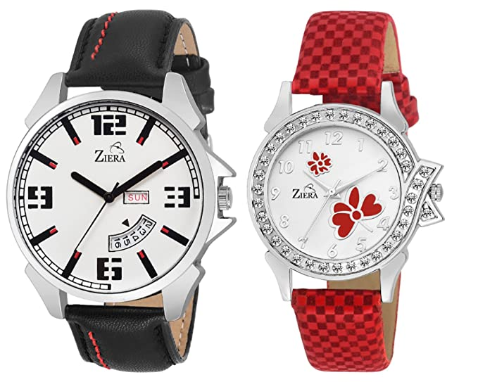 Day n Date Leather Couple Watch Combo