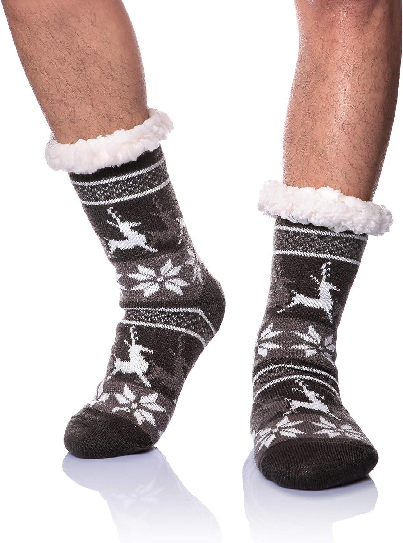 Women Men High Top Winter Warm Home Indoor Non Slip Fleece Floor Slippers Socks