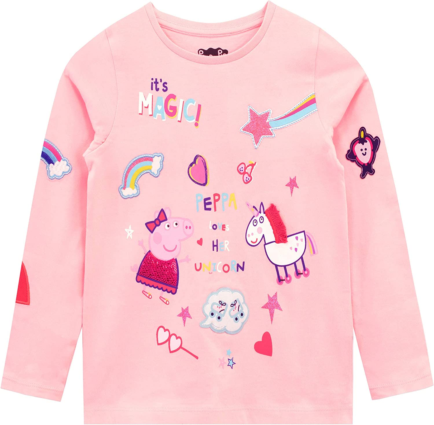 Peppa Pig Girls Pink Long Sleeve Shirt 5//6