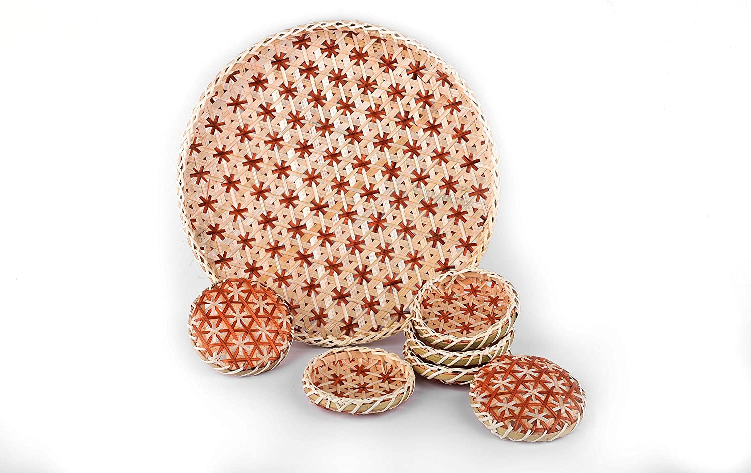 TV BAMBOO Bamboo Tray in Round, Honey Brown   Handmade Decorative Trays for Home Decor   Boho Wall Art for Living Room   Bamboo Trays for Food   Woven Basket Wall Decor, 1 Large 12.6