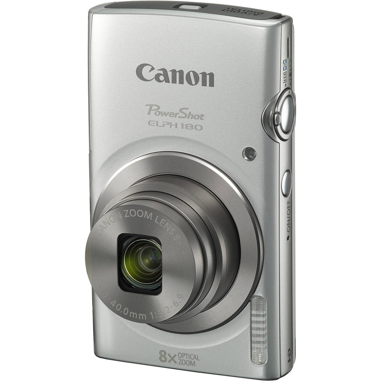 Amazon.com : Canon PowerShot ELPH 180 20MP 8x Zoom Digital Camera (Silver) + 32GB Card + Reader + Case + Accessory Bundle