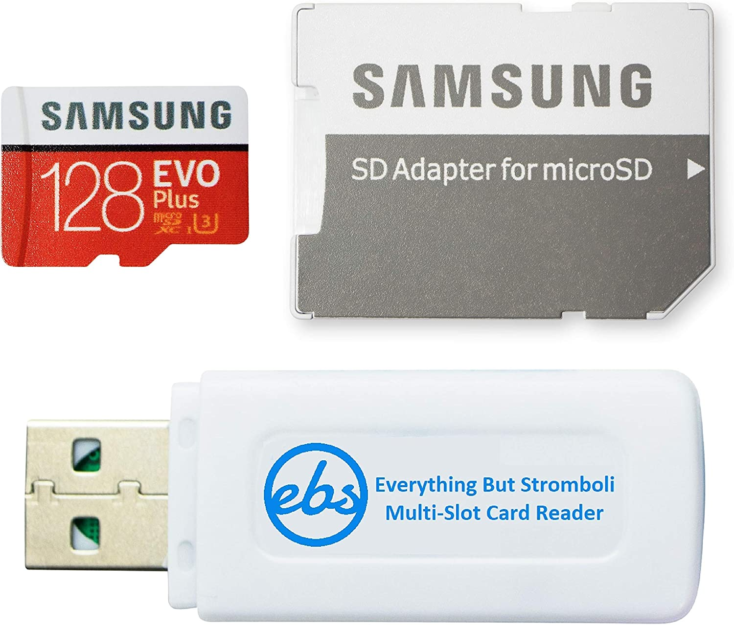 Samsung Micro 128GB Evo Plus Memory Card Class 10 Works with Android Phone - Galaxy A20s, A20, A10, A70 (MB-MC128HA) Bundle with (1) Everything But Stromboli MicroSD & SD Card Reader