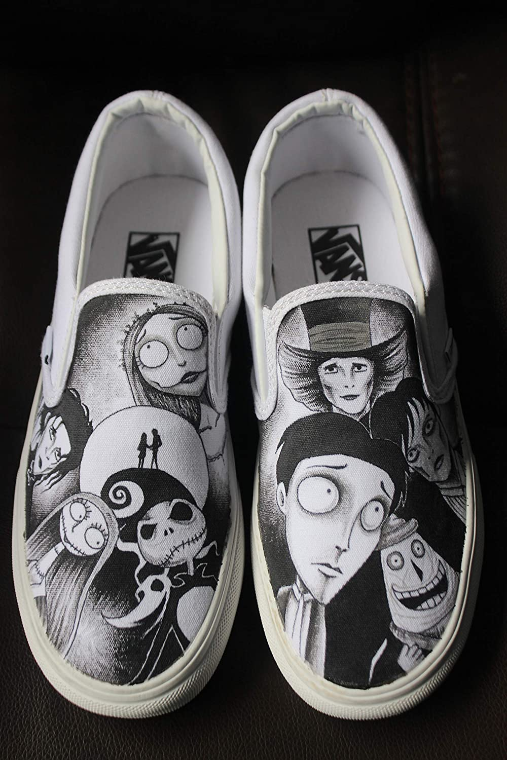 910d29ee515ba8 Hand Painted Shoes Custom Vans Tim Burton Johnny Depp Edward Scissorhands  Corpse Bride Nightmare before christmas Zapatos Fashion Shoes for Kids Unisex  ...