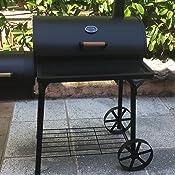 Barbecue a carbonella trasportabile con 2 ruote acciaio for Affumicatore portatile