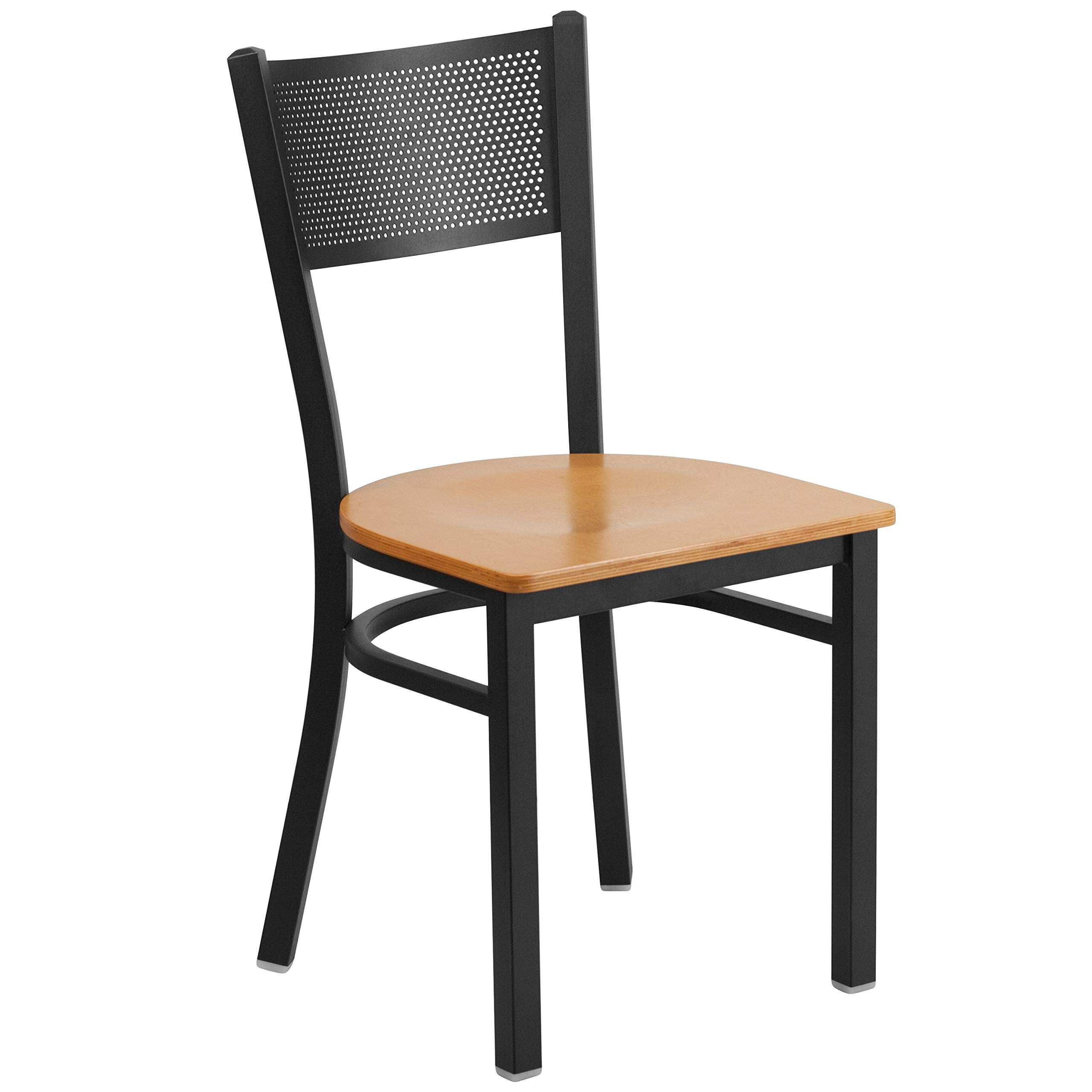 MFO Princeton Collection Black Grid Back Metal Restaurant Chair - Natural Wood Seat