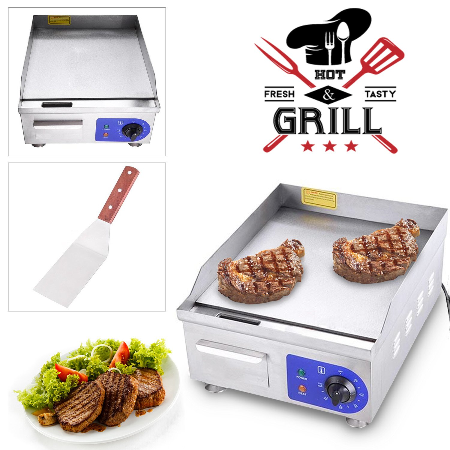Koval Inc. 15'' 1500W Food Electric Griddle Countertop Grill Commercial (15'' 1500W, Stainless Steel)