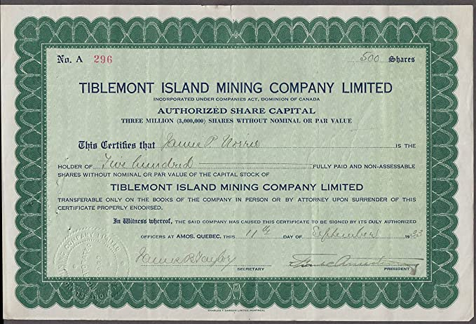 Tiblemont Island Mining Company stock certificate Canada