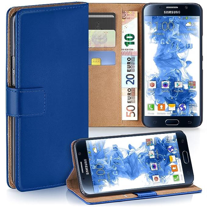 moex Samsung Galaxy S6   Hülle Blau mit Karten-Fach 360° Book Klapp-Hülle Handytasche Kunst-Leder Handyhülle für Samsung Gala