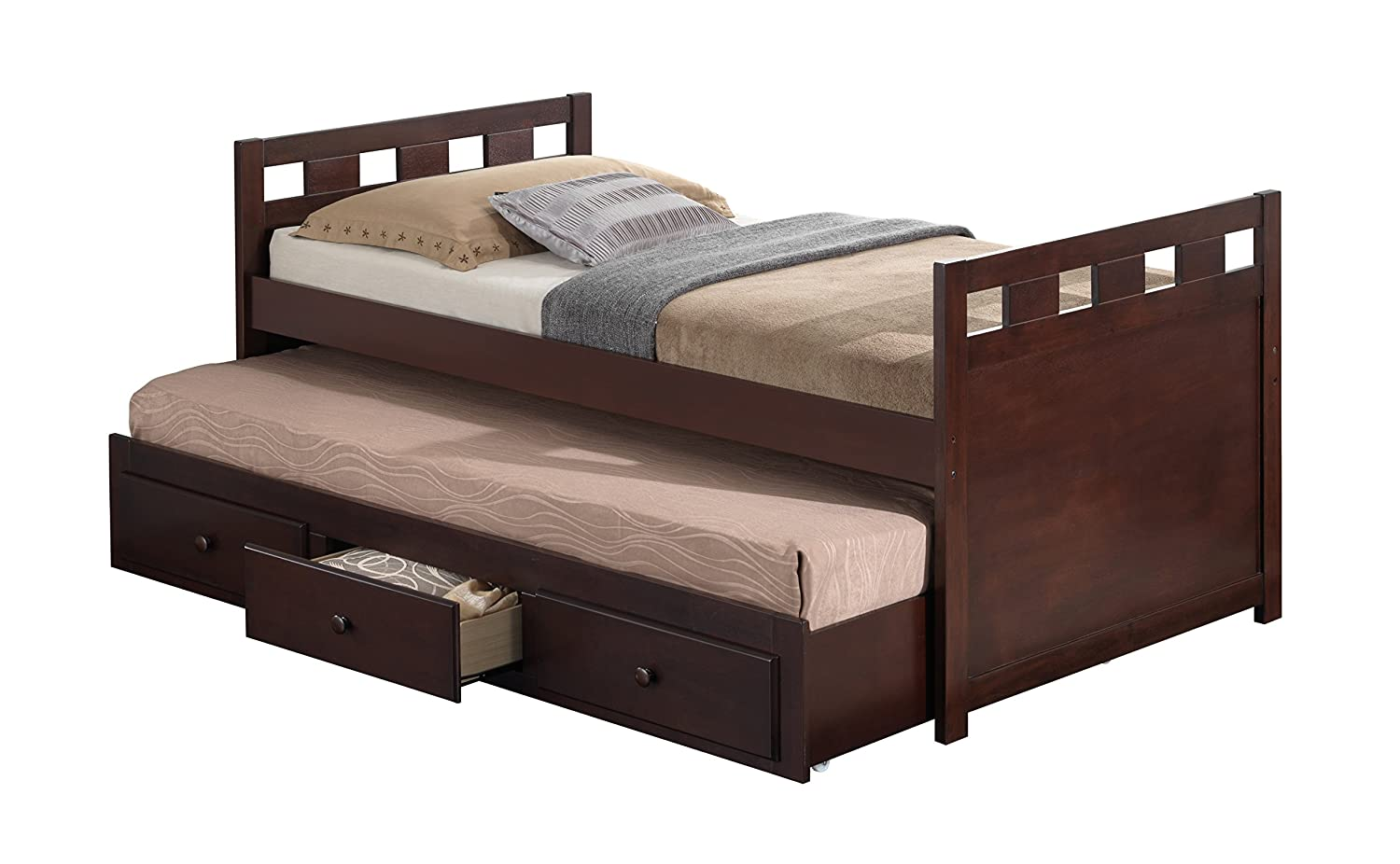 amazoncom broyhill kids bed with trundle bed and drawers espresso kitchen u0026 dining