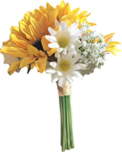 Yellow Silk Sunflowers, Daisies & Baby Breath Bouquet, 9.5 inches tall, vase, bridesmaid, home decor, office decor, tabletop, floral projects, corsages, boutonnieres, wreaths, swags, gifts, shower