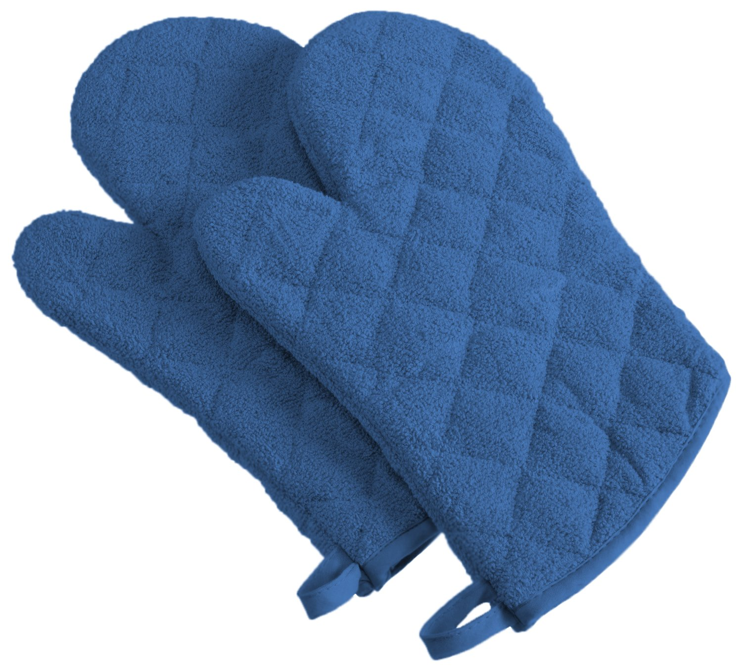 DII 100% Cotton, Terry Oven Mitt Set Machine Washable, Heat Resistant, 7 x 13, Blueberry, 2 Piece