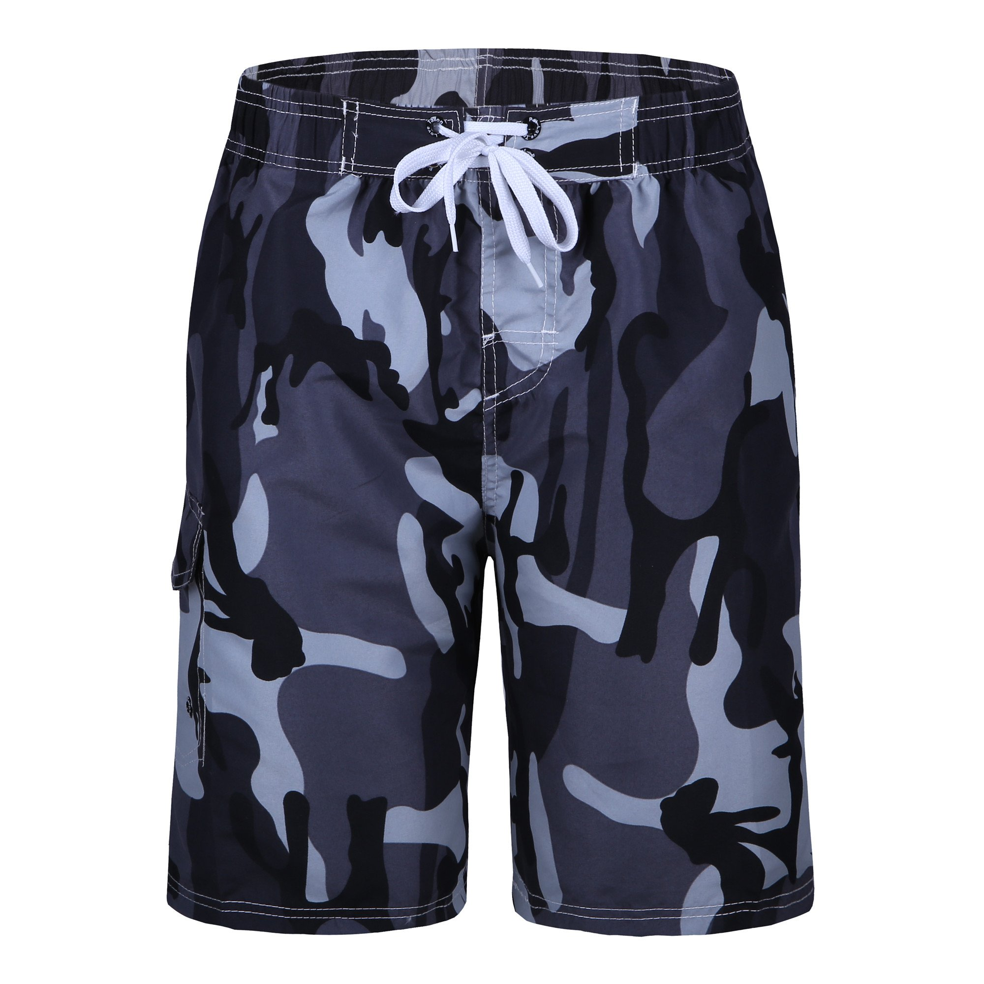 Men's Swim Trunks Quick Dry Camo Board Shorts Daily Beach Shorts with Pockets