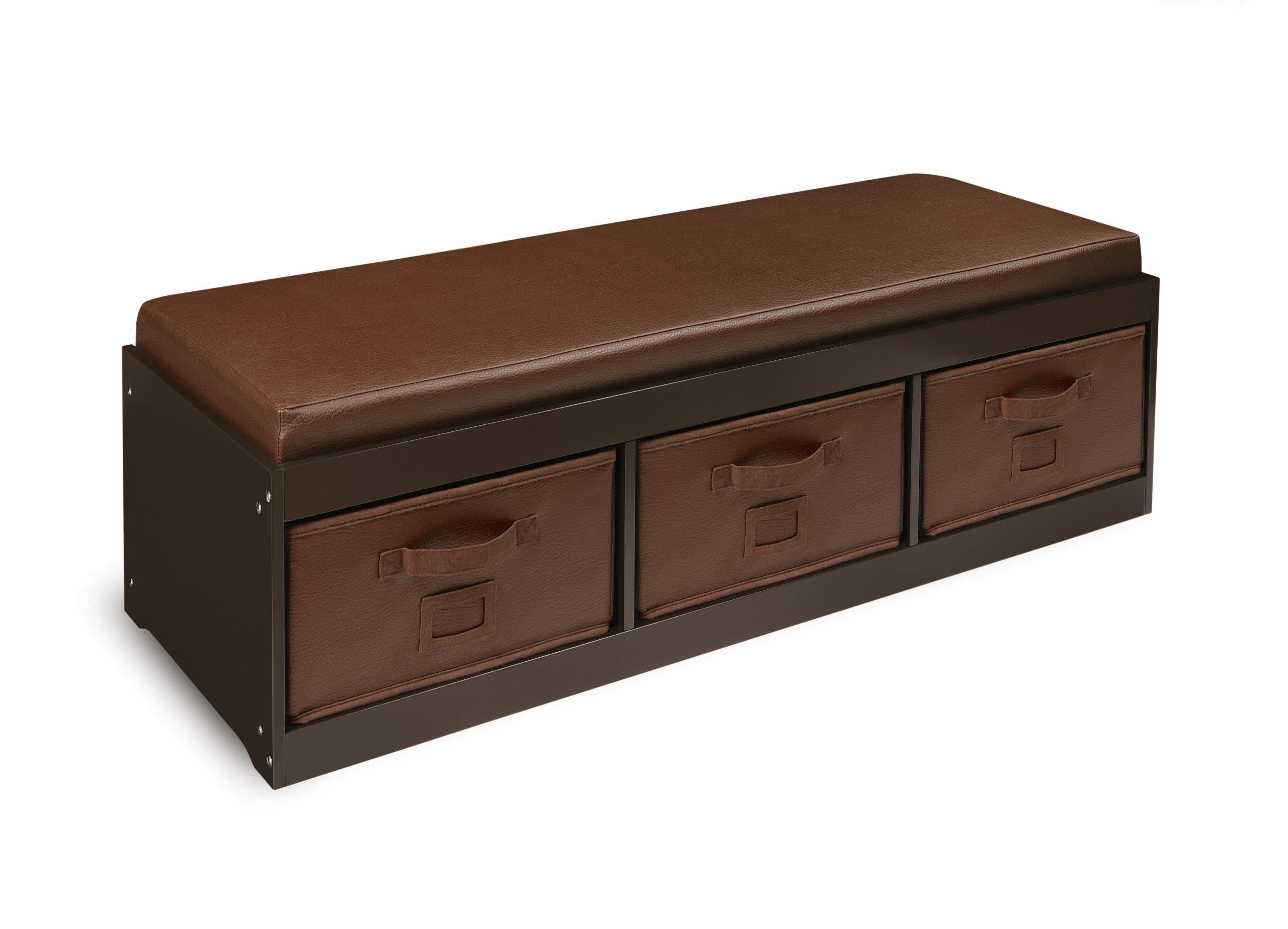 Badger Basket Kid's Storage Bench with Cushion and 3 Bins, Espresso
