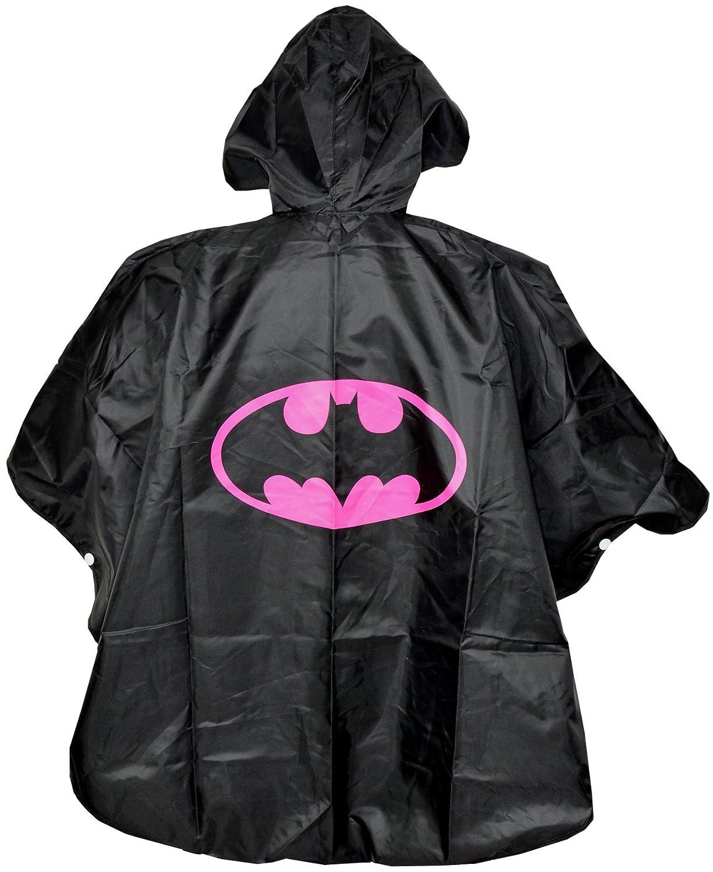 Batgirl Kinder Regenponcho Cape Schwarz - Einheitsgrö ß e Umhä nge - Regen Poncho Superheroes mit Kaputze Batman Mä dchen Regenmantel fü r Superhelden - King Mungo - KMSP005 KingMungo