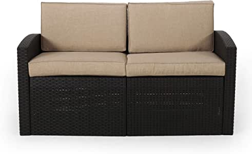 Christopher Knight Home 313361 Oliver Outdoor Faux Wicker Loveseat with Cushions, Black and Beige